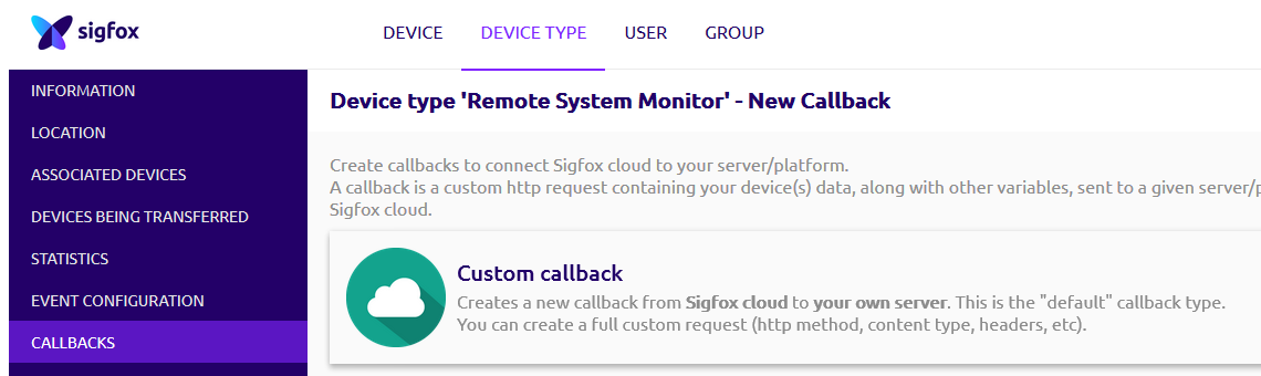Select Custom callback
