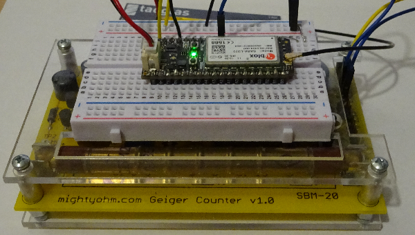 Internet connected Geiger counter using a Particle Electron over 3G network.